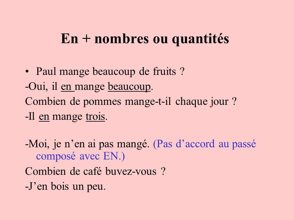 En + nombres ou quantités Paul mange beaucoup de fruits ? -Oui, il en mange beaucoup. Combien de pommes mange-t-il chaque jour ? -Il en mange trois. -