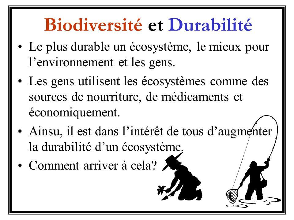 Le plus durable un écosystème, le mieux pour lenvironnement et les gens. Les gens utilisent les écosystèmes comme des sources de nourriture, de médica