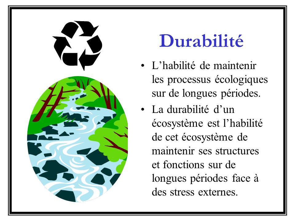 Durabilité Lhabilité de maintenir les processus écologiques sur de longues périodes. La durabilité dun écosystème est lhabilité de cet écosystème de m