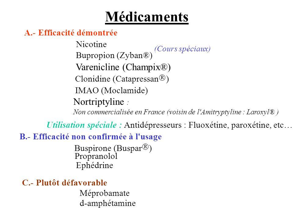 Médicaments A.- Efficacité démontrée IMAO (Moclamide) Utilisation spéciale :Antidépresseurs : Fluoxétine, paroxétine, etc… C.- Plutôt défavorable Mépr