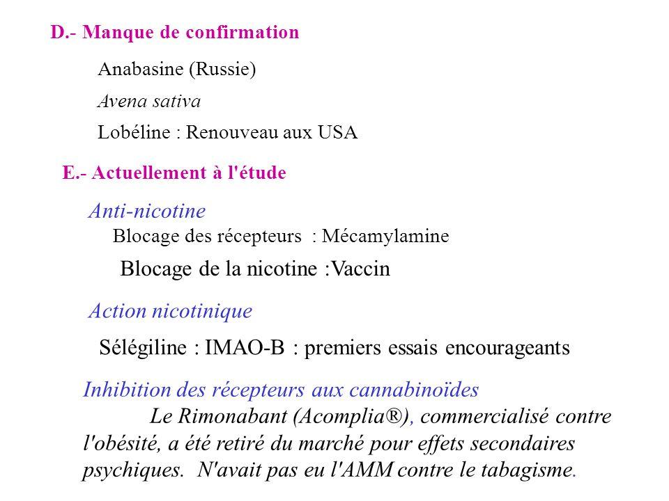 D.- Manque de confirmation Anabasine (Russie) Avena sativa Lobéline : Renouveau aux USA Sélégiline : IMAO-B : premiers essais encourageants Blocage de