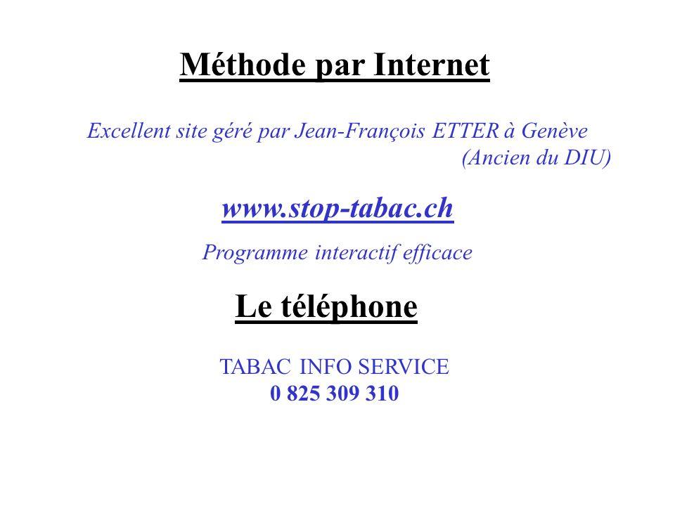 Méthode par Internet Excellent site géré par Jean-François ETTER à Genève (Ancien du DIU) www.stop-tabac.ch Programme interactif efficace Le téléphone