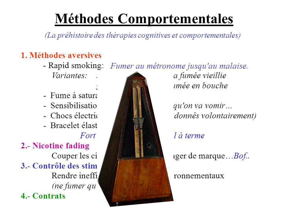 Méthodes Comportementales Variantes:souffler au visage de la fumée vieillie garder longtemps la fumée en bouche -Fume à saturation -Sensibilisation in