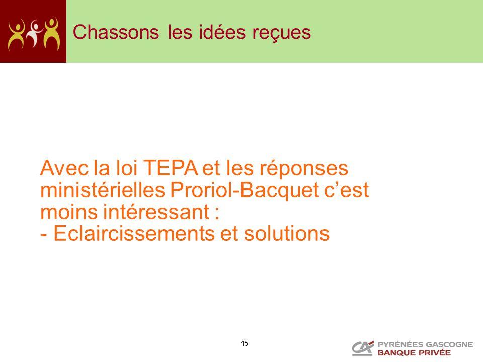 15 Chassons les idées reçues Avec la loi TEPA et les réponses ministérielles Proriol-Bacquet cest moins intéressant : - Eclaircissements et solutions