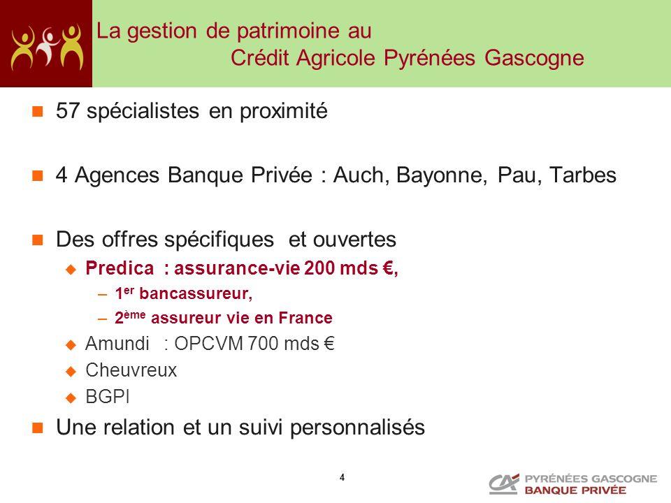 4 La gestion de patrimoine au Crédit Agricole Pyrénées Gascogne 57 spécialistes en proximité 4 Agences Banque Privée : Auch, Bayonne, Pau, Tarbes Des