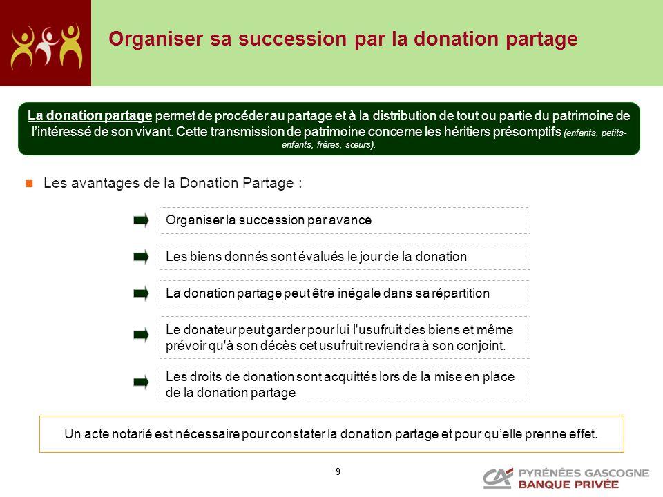 9 Organiser sa succession par la donation partage Un acte notarié est nécessaire pour constater la donation partage et pour quelle prenne effet. La do