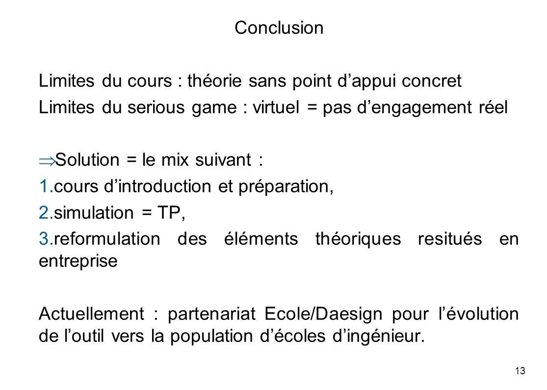13 Conclusion Limites du cours : théorie sans point dappui concret Limites du serious game : virtuel = pas dengagement réel Solution = le mix suivant