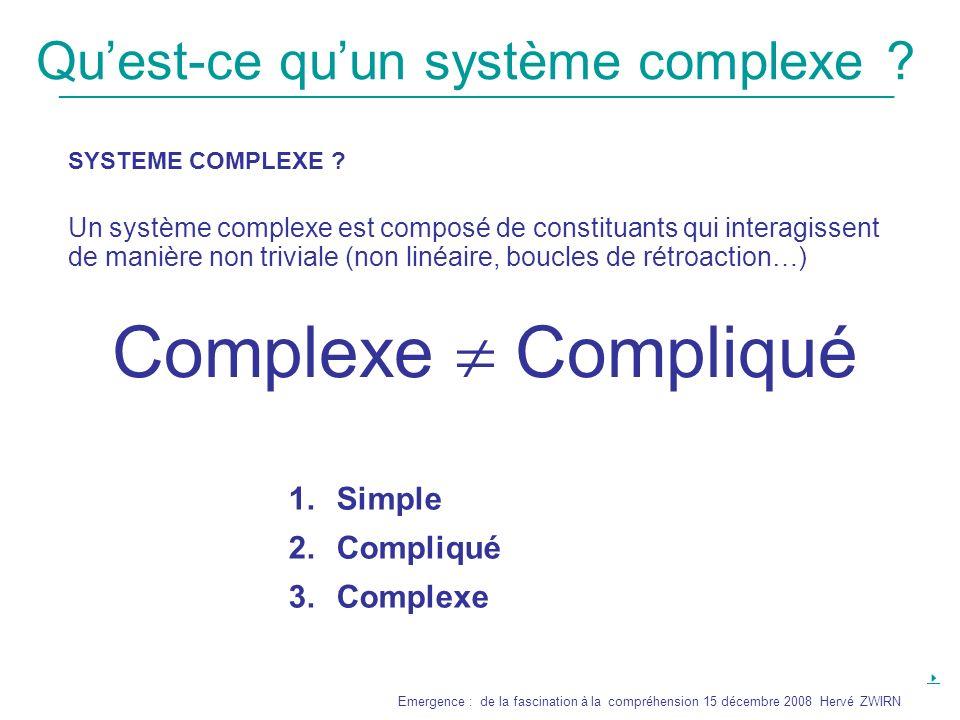 _______________________________________________________________ Emergence : de la fascination à la compréhension 15 décembre 2008 Hervé ZWIRN Comprendre les phénomènes émergents Si prédire cest simuler Si la simulation est computationnellement irreductible Nouvel affaiblissement du concept de compréhension La vie .