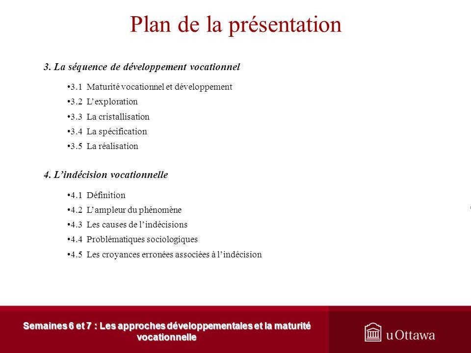 Plan de la présentation Semaines 6 et 7 : Les approches développementales et la maturité vocationnelle 1. Les concepts fondamentaux 1.1 Les sources de