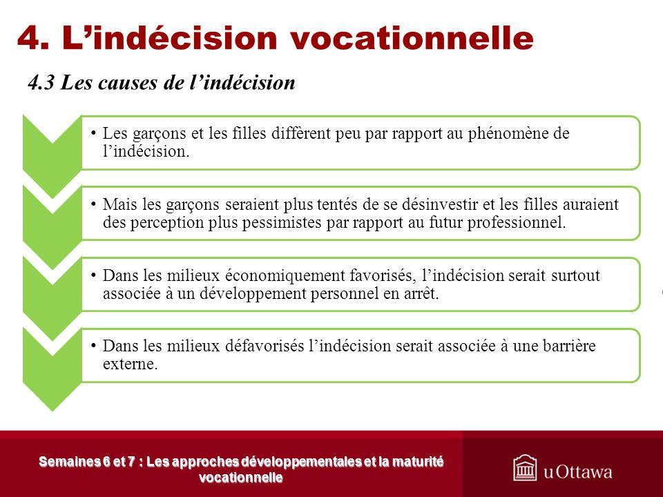 4. Lindécision vocationnelle 4.3 Les causes de lindécision Semaines 6 et 7 : Les approches développementales et la maturité vocationnelle La personnal