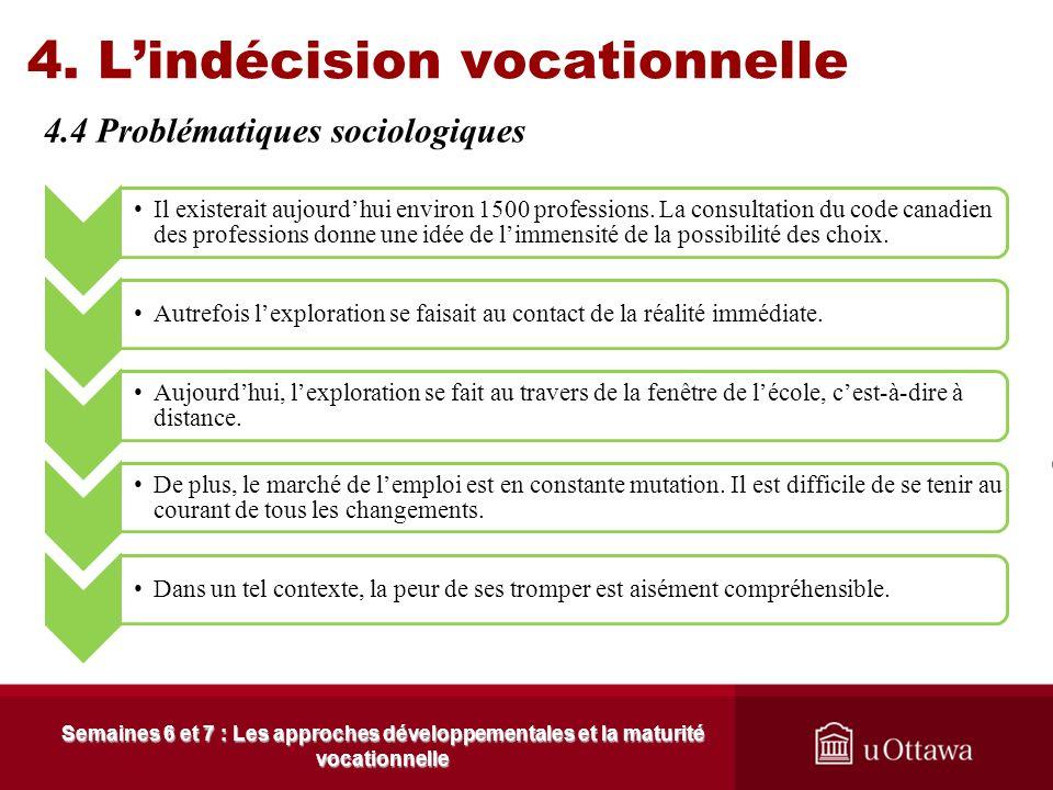 4. Lindécision vocationnelle 4.3 Les causes de lindécision Semaines 6 et 7 : Les approches développementales et la maturité vocationnelle Les garçons