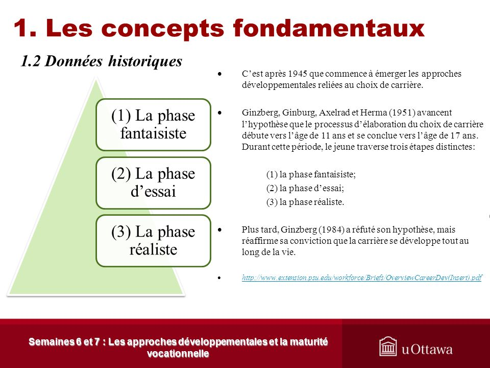 1. Les concepts fondamentaux 1.1 Les sources de lapproche Semaines 6 et 7 : Les approches développementales et la maturité vocationnelle Jean Piaget S