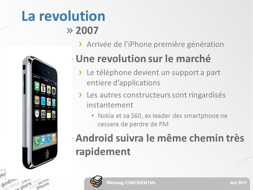 La revolution » 2007 Arrivée de liPhone première génération » Une revolution sur le marché Le téléphone devient un support a part entiere dapplications Les autres constructeurs sont ringardisés instantement Nokia et sa S60, ex leader des smartphone ne cessera de perdre de PM » Android suivra le même chemin très rapidement Jan 2011 Webwag CONFIDENTIAL 13