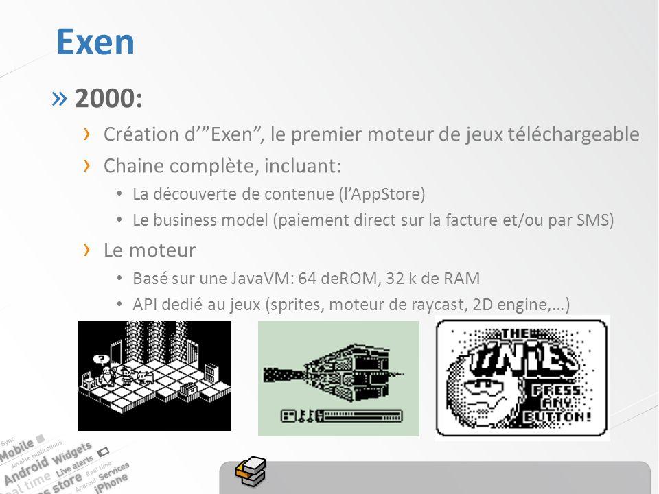 Exen » 2000: Création dExen, le premier moteur de jeux téléchargeable Chaine complète, incluant: La découverte de contenue (lAppStore) Le business model (paiement direct sur la facture et/ou par SMS) Le moteur Basé sur une JavaVM: 64 deROM, 32 k de RAM API dedié au jeux (sprites, moteur de raycast, 2D engine,…)