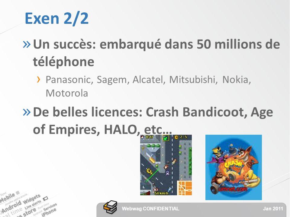 Exen 2/2 » Un succès: embarqué dans 50 millions de téléphone Panasonic, Sagem, Alcatel, Mitsubishi, Nokia, Motorola » De belles licences: Crash Bandicoot, Age of Empires, HALO, etc… Jan 2011 Webwag CONFIDENTIAL 7