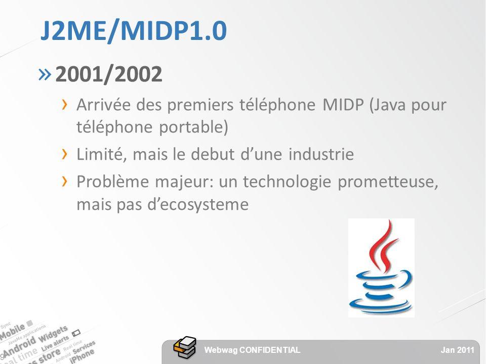 J2ME/MIDP1.0 » 2001/2002 Arrivée des premiers téléphone MIDP (Java pour téléphone portable) Limité, mais le debut dune industrie Problème majeur: un technologie prometteuse, mais pas decosysteme Jan 2011 Webwag CONFIDENTIAL 9
