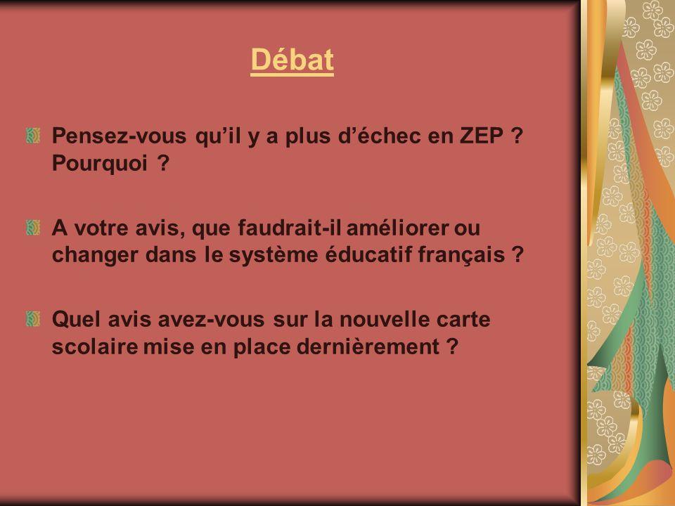 Débat Pensez-vous quil y a plus déchec en ZEP ? Pourquoi ? A votre avis, que faudrait-il améliorer ou changer dans le système éducatif français ? Quel