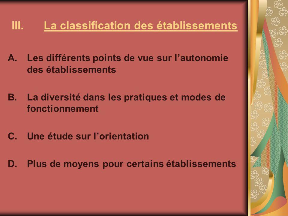 III.La classification des établissements A.Les différents points de vue sur lautonomie des établissements B.La diversité dans les pratiques et modes d