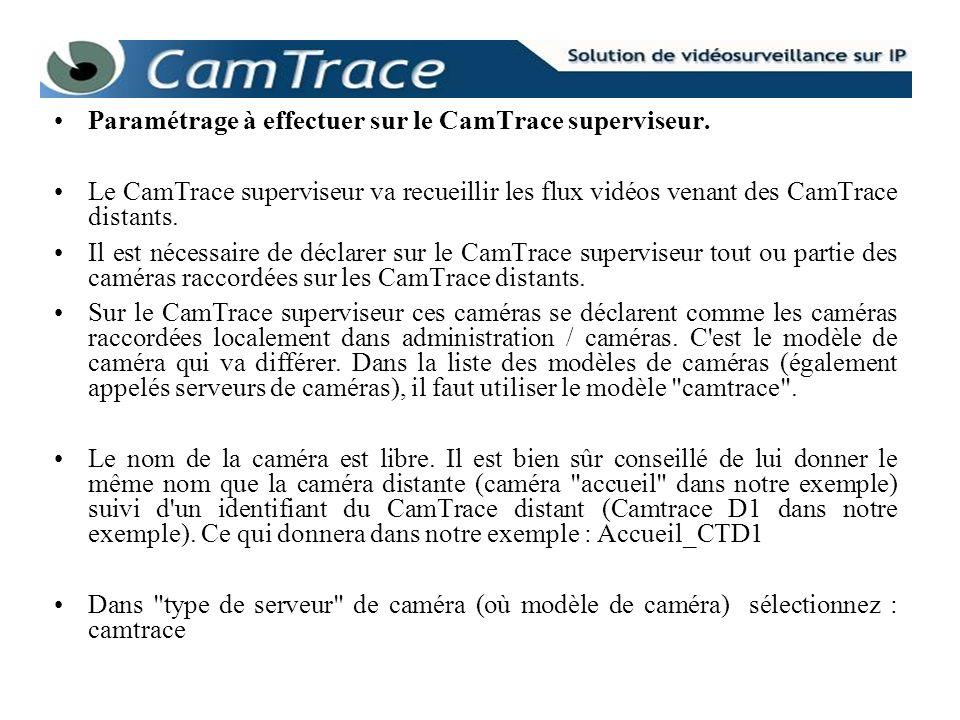 Paramétrage à effectuer sur le CamTrace superviseur. Le CamTrace superviseur va recueillir les flux vidéos venant des CamTrace distants. Il est nécess