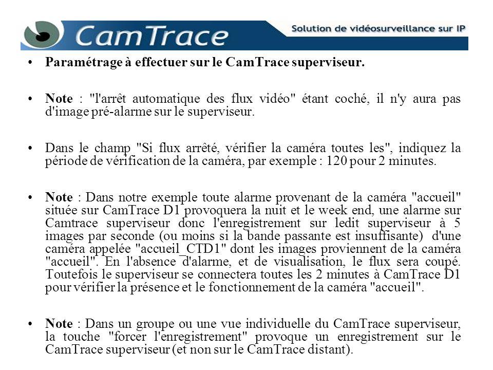 Paramétrage à effectuer sur le CamTrace superviseur. Note :