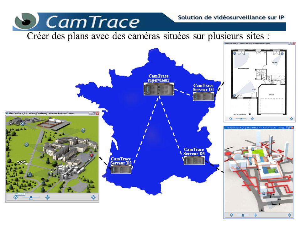 CamTrace Serveur D2 CamTrace Serveur D3 CamTrace Serveur D1 CamTrace superviseur Créer des plans avec des caméras situées sur plusieurs sites :