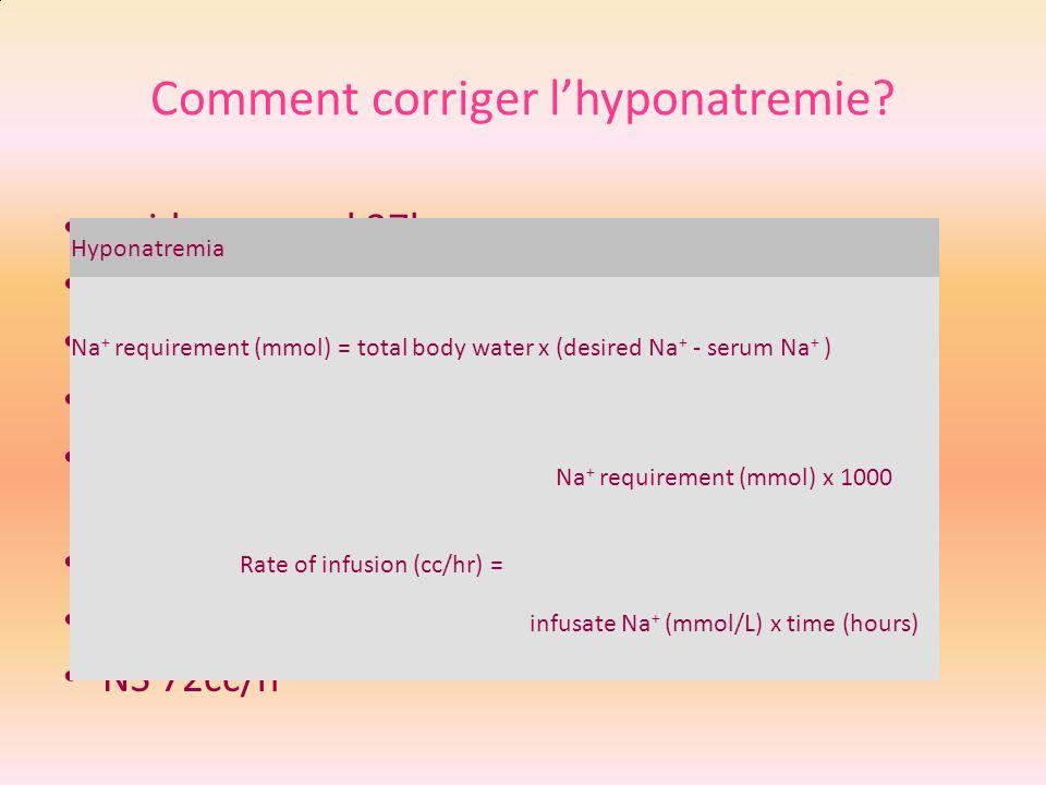 Comment corriger lhyponatremie? poids corporel 37kg Eau corporelle totale 22.2L Deficit en Na (135-117)*22.2= 400 mEq 1 L NS 154mEq Na Patient doit le