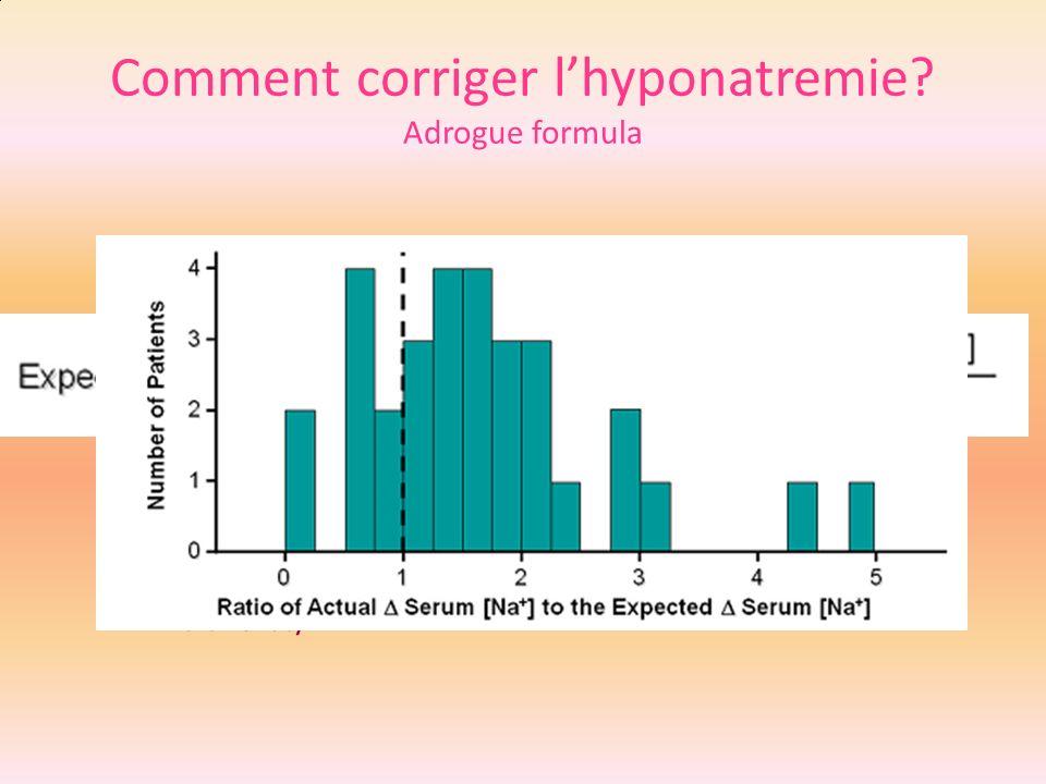 Comment corriger lhyponatremie? Adrogue formula NS 315 cc/h