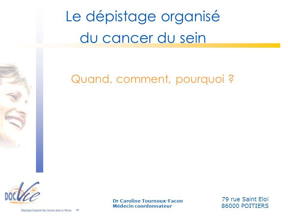 Quand, comment, pourquoi ? Le dépistage organisé du cancer du sein 79 rue Saint Eloi 86000 POITIERS Dr Caroline Tournoux-Facon Médecin coordonnateur