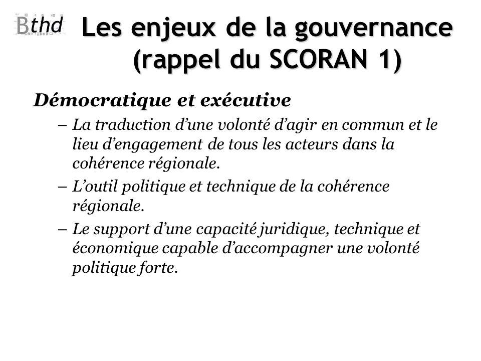 Les enjeux de la gouvernance (rappel du SCORAN 1) Démocratique et exécutive –La traduction dune volonté dagir en commun et le lieu dengagement de tous