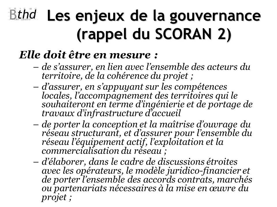 Les enjeux de la gouvernance (rappel du SCORAN 2) Elle doit être en mesure : –de sassurer, en lien avec lensemble des acteurs du territoire, de la coh