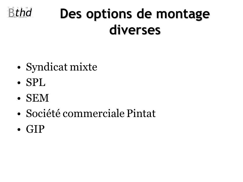 Des options de montage diverses Syndicat mixte SPL SEM Société commerciale Pintat GIP