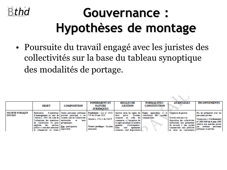 Gouvernance : Hypothèses de montage Poursuite du travail engagé avec les juristes des collectivités sur la base du tableau synoptique des modalités de