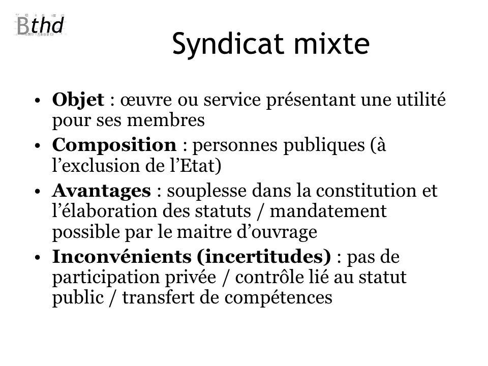 Syndicat mixte Objet : œuvre ou service présentant une utilité pour ses membres Composition : personnes publiques (à lexclusion de lEtat) Avantages :