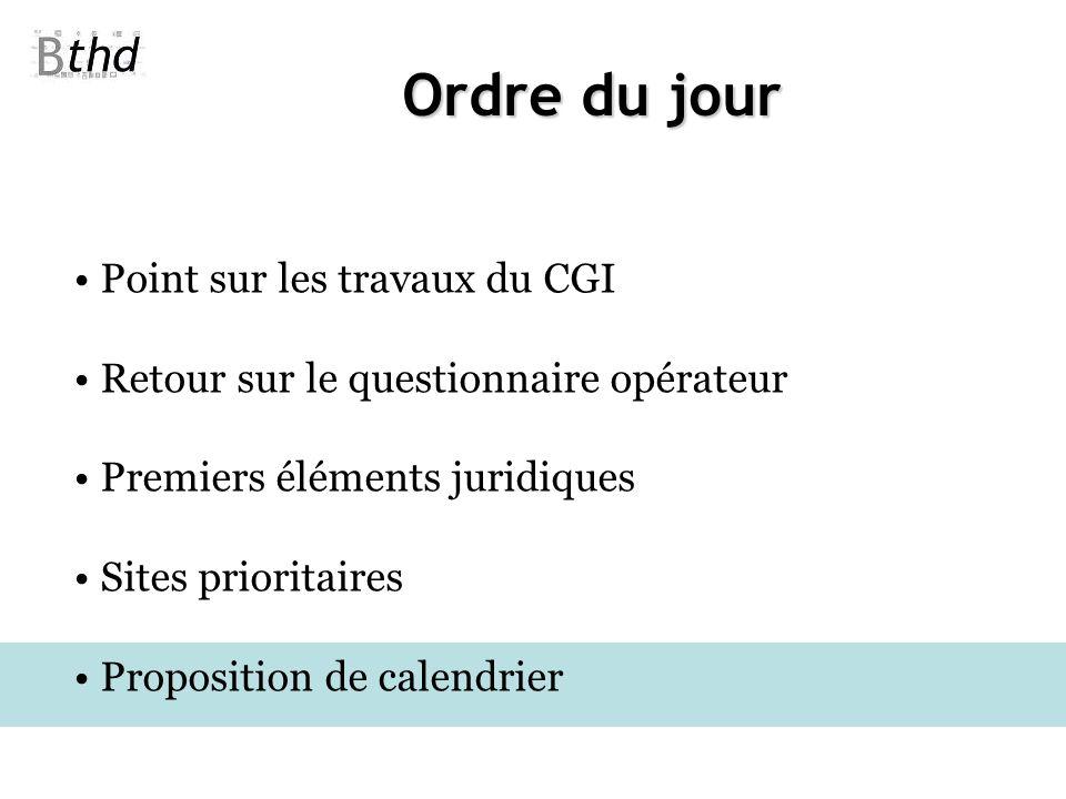 Ordre du jour Point sur les travaux du CGI Retour sur le questionnaire opérateur Premiers éléments juridiques Sites prioritaires Proposition de calend