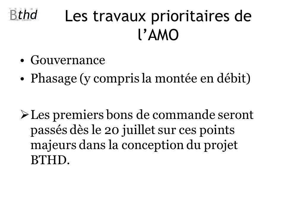 Les travaux prioritaires de lAMO Gouvernance Phasage (y compris la montée en débit) Les premiers bons de commande seront passés dès le 20 juillet sur