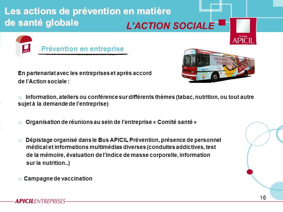 16 Prévention en entreprise En partenariat avec les entreprises et après accord de lAction sociale : Information, ateliers ou conférence sur différent