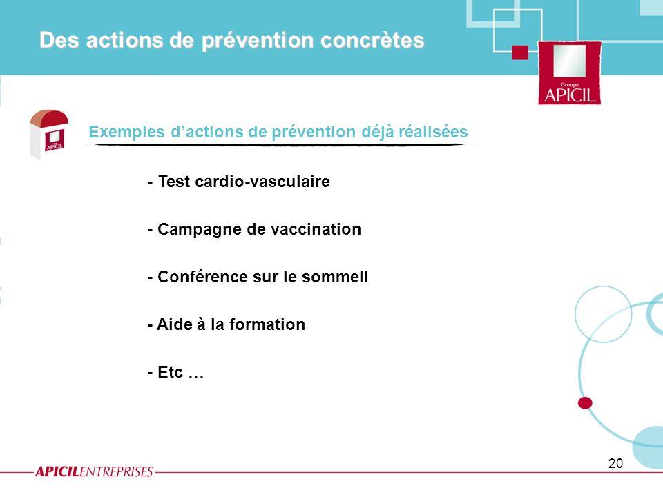 20 - Test cardio-vasculaire - Campagne de vaccination - Conférence sur le sommeil - Aide à la formation - Etc … Exemples dactions de prévention déjà r