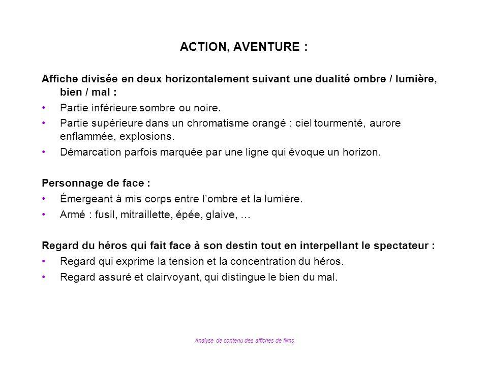 Analyse de contenu des affiches de films ACTION, AVENTURE : Affiche divisée en deux horizontalement suivant une dualité ombre / lumière, bien / mal :