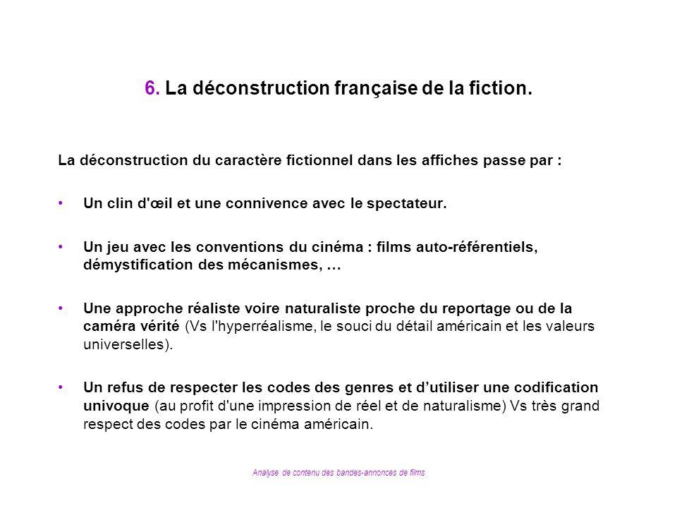 Analyse de contenu des bandes-annonces de films 6. La déconstruction française de la fiction. La déconstruction du caractère fictionnel dans les affic
