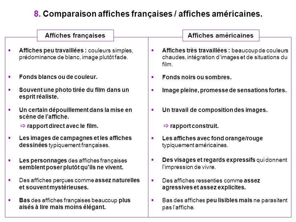 8. Comparaison affiches françaises / affiches américaines. Affiches très travaillées : beaucoup de couleurs chaudes, intégration dimages et de situati