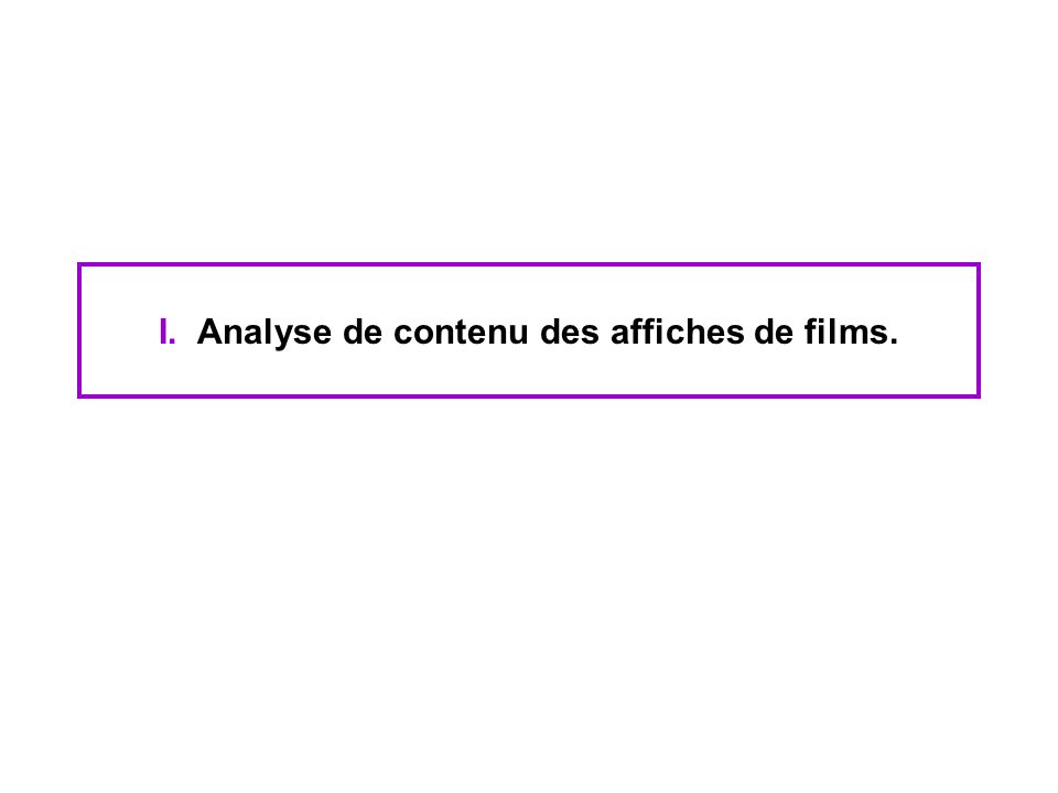 Analyse de contenu des bandes-annonces de films Différences entre les cultures cinématographiques américaine et française : La fiction française semble prendre du recul avec le film Vs le premier degré américain.
