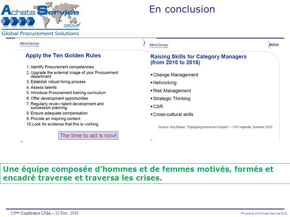 Property of Achats-Service SAS 13 ème Conférence CMA – 25 Nov. 2010 En conclusion Une équipe composée dhommes et de femmes motivés, formés et encadré