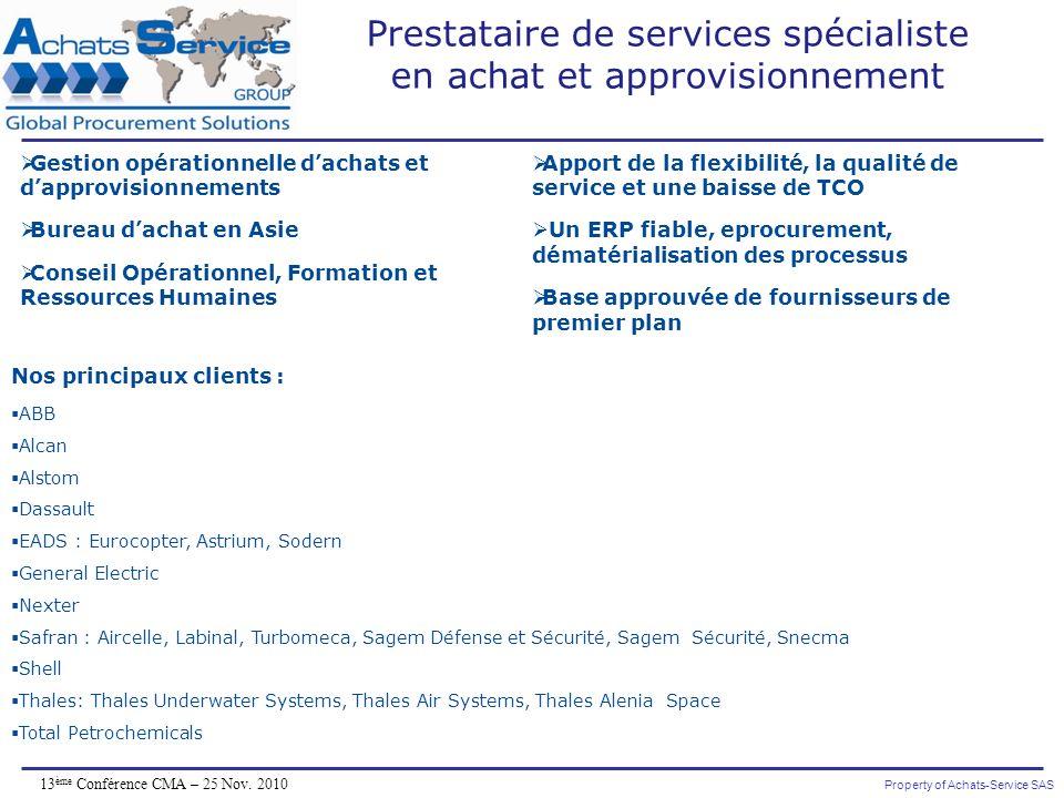 Property of Achats-Service SAS 13 ème Conférence CMA – 25 Nov. 2010 Nos principaux clients : ABB Alcan Alstom Dassault EADS : Eurocopter, Astrium, Sod