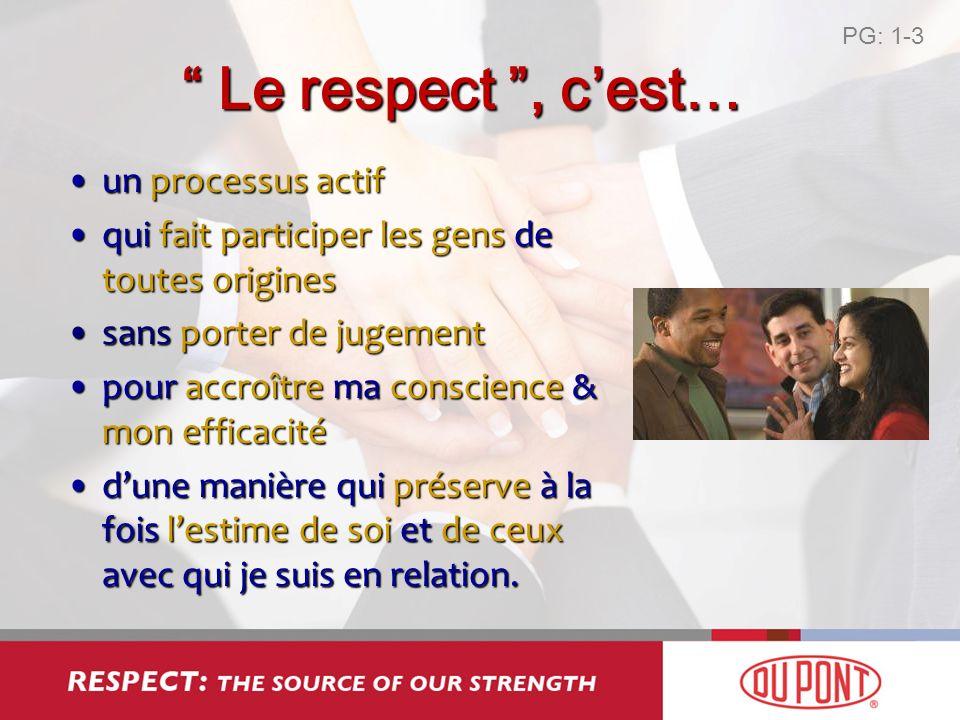 Le respect, cest… Le respect, cest… un processus actifun processus actif qui fait participer les gens de toutes originesqui fait participer les gens d