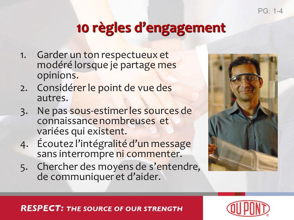 10 règles dengagement 1.Garder un ton respectueux et modéré lorsque je partage mes opinions. 2.Considérer le point de vue des autres. 3.Ne pas sous-es