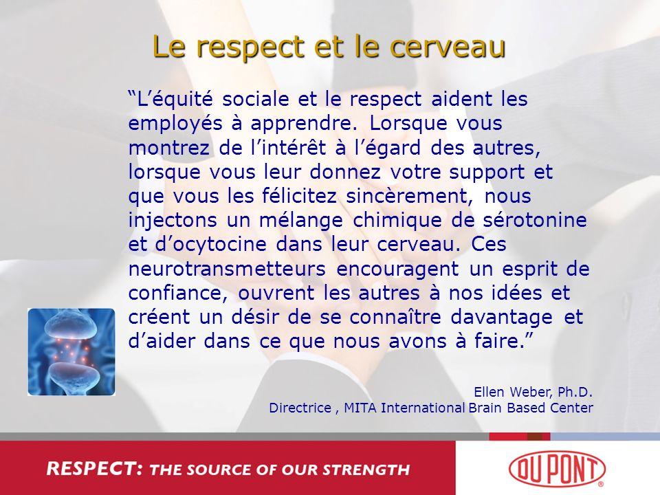Le respect et le cerveau Léquité sociale et le respect aident les employés à apprendre. Lorsque vous montrez de lintérêt à légard des autres, lorsque