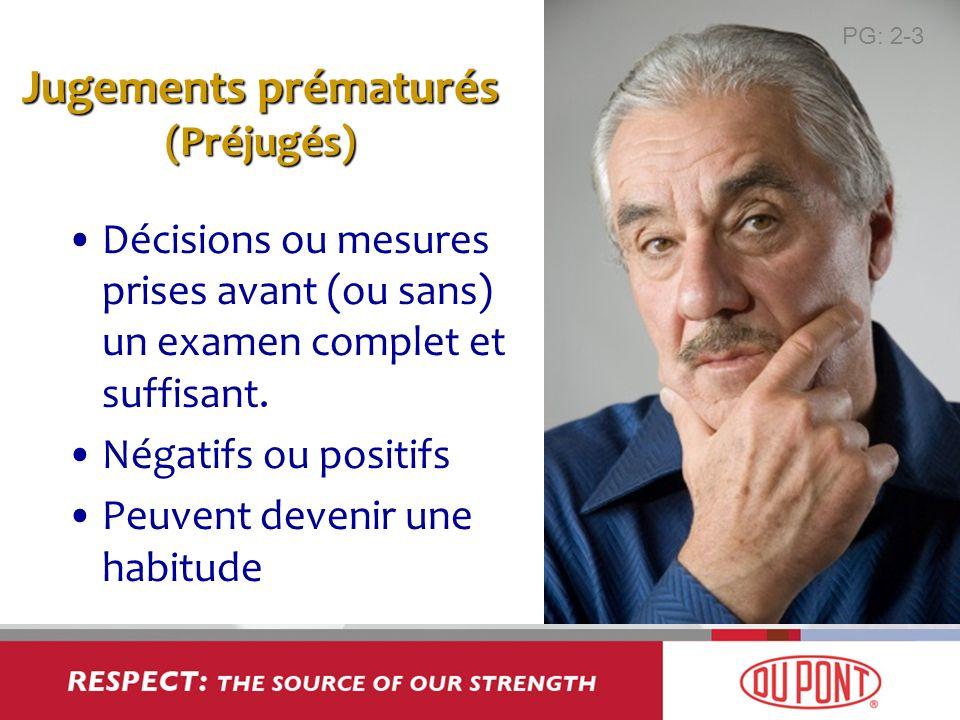 Jugements prématurés (Préjugés) Décisions ou mesures prises avant (ou sans) un examen complet et suffisant. Négatifs ou positifs Peuvent devenir une h