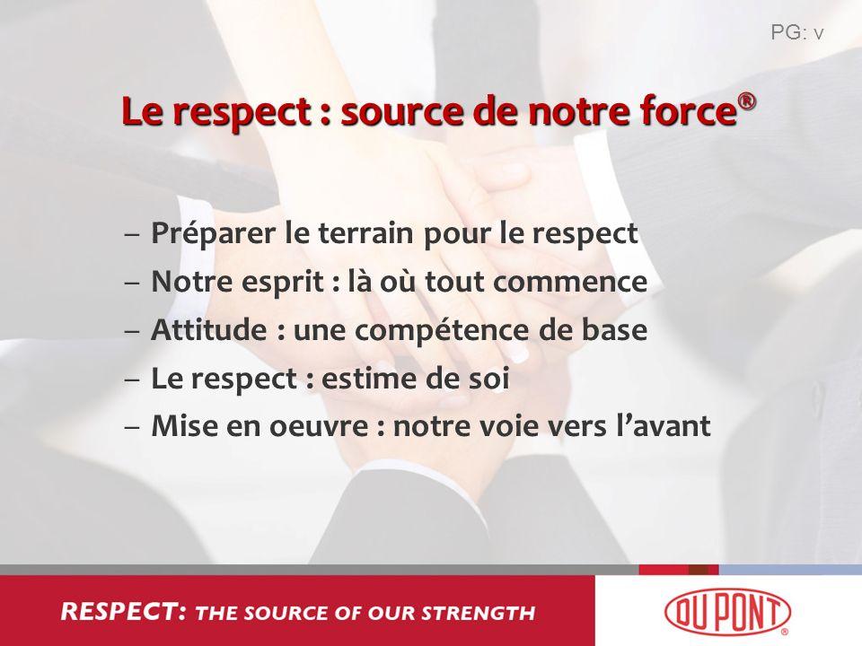 Le respect : source de notre force ® –Préparer le terrain pour le respect –Notre esprit : là où tout commence –Attitude : une compétence de base –Le r