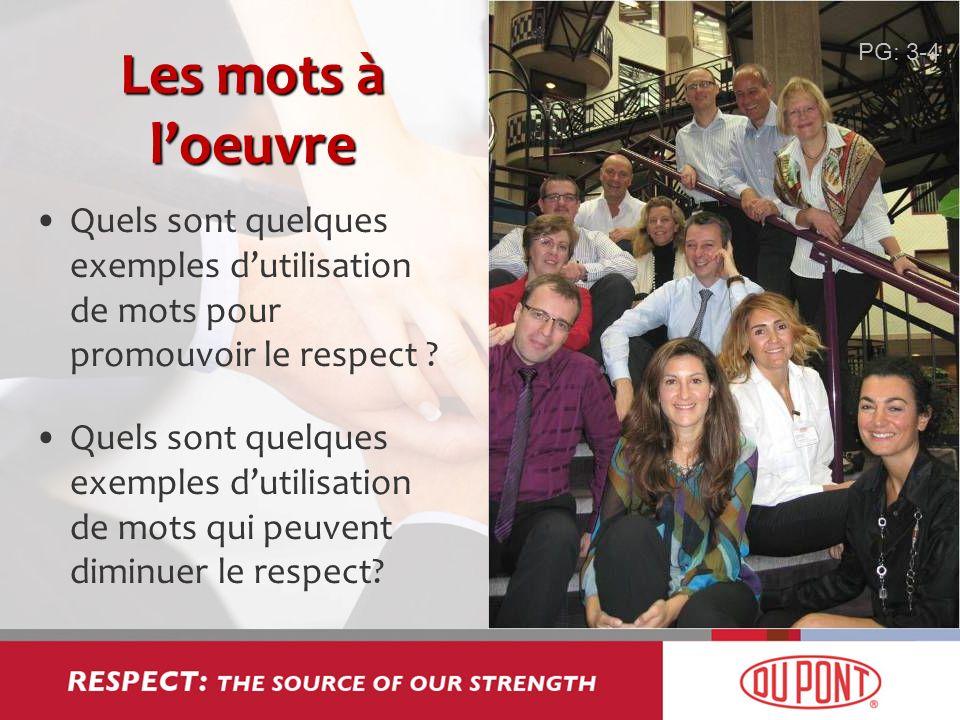 Les mots à loeuvre Quels sont quelques exemples dutilisation de mots pour promouvoir le respect ? Quels sont quelques exemples dutilisation de mots qu