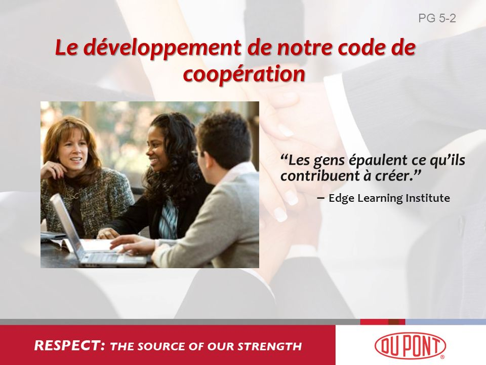 Les gens épaulent ce quils contribuent à créer. – Edge Learning Institute Le développement de notre code de coopération PG 5-2